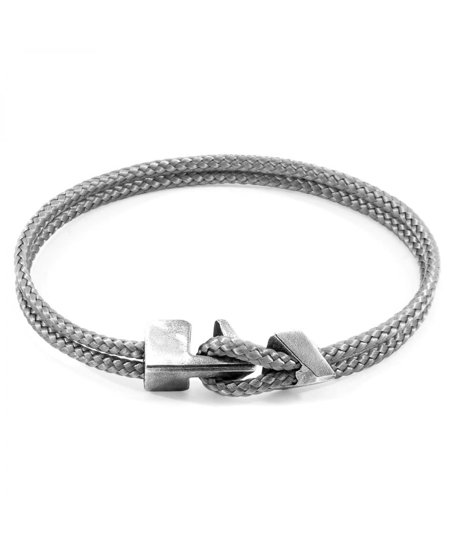 Image for ANCHOR & CREW Classic Grey Brixham Silver and Rope Bracelet