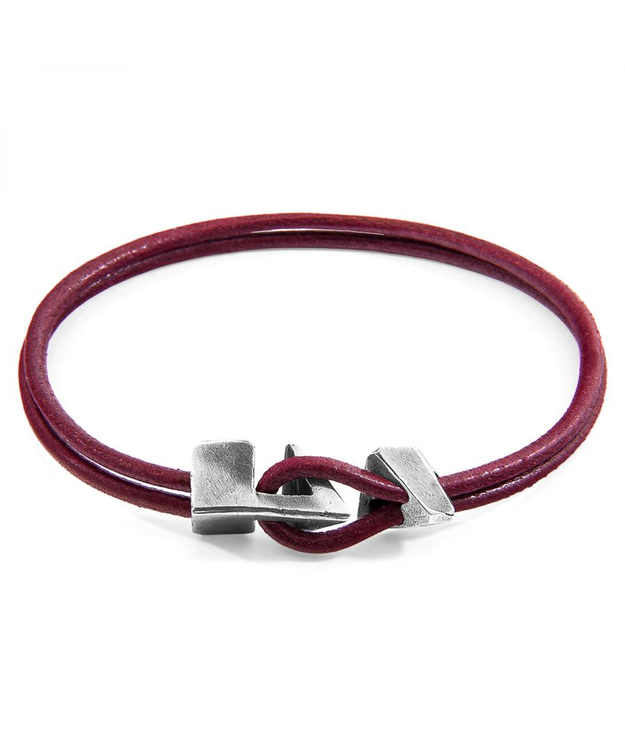 Image for ANCHOR & CREW Bordeaux Red Brixham Silver and Round Leather Bracelet