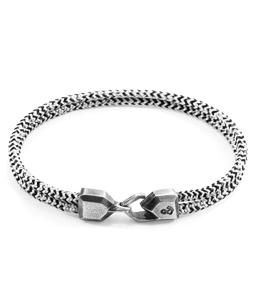 Image for ANCHOR & CREW White Noir Cromer Silver and Rope Bracelet