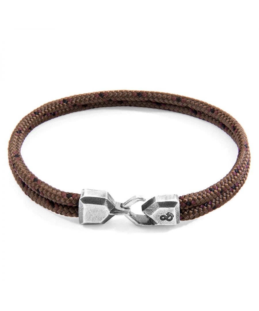 Image for ANCHOR & CREW Brown Cromer Silver and Rope Bracelet