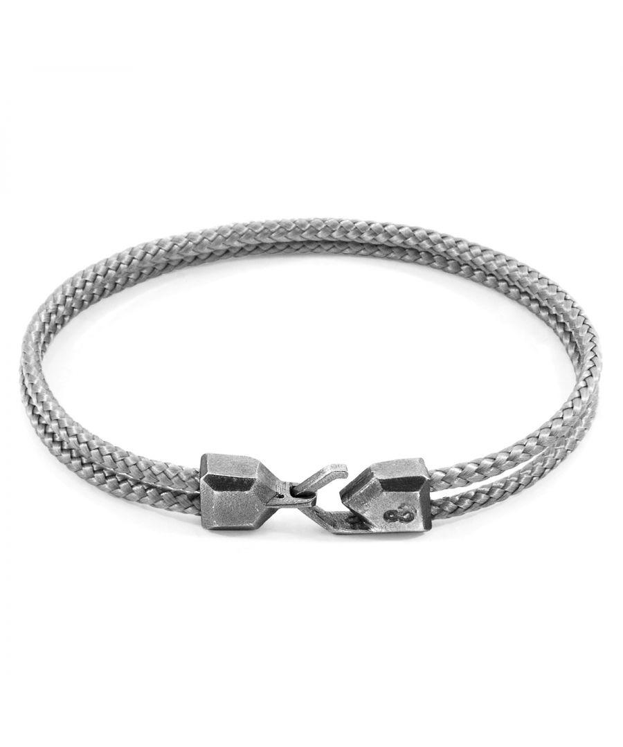 Image for ANCHOR & CREW Classic Grey Cromer Silver and Rope Bracelet