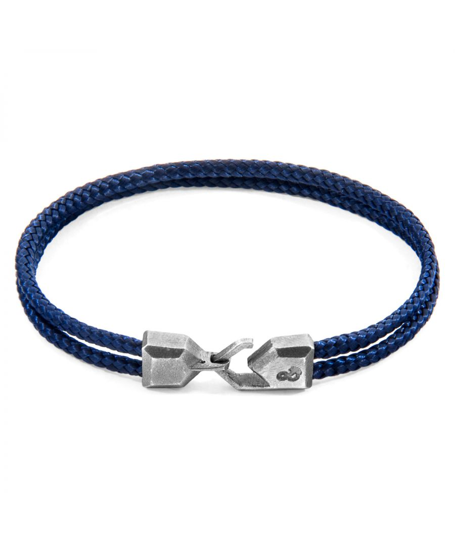 Image for ANCHOR & CREW Navy Blue Cromer Silver and Rope Bracelet