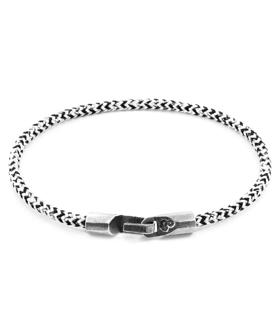 Image for ANCHOR & CREW White Noir Talbot Silver and Rope Bracelet