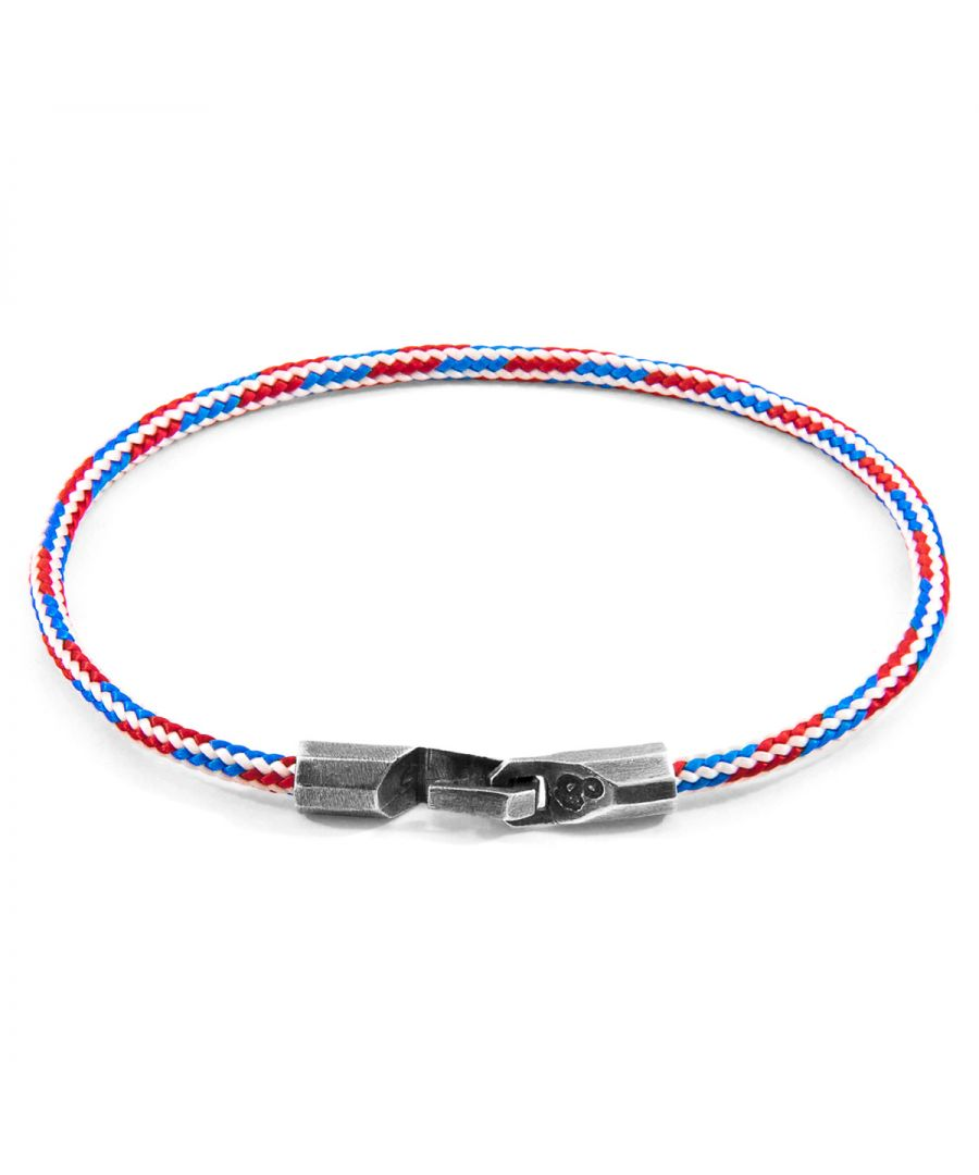 Image for ANCHOR & CREW Project-RWB Red White and Blue Talbot Silver and Rope Bracelet