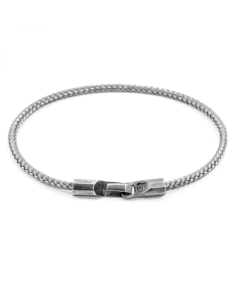 Image for ANCHOR & CREW Classic Grey Talbot Silver and Rope Bracelet