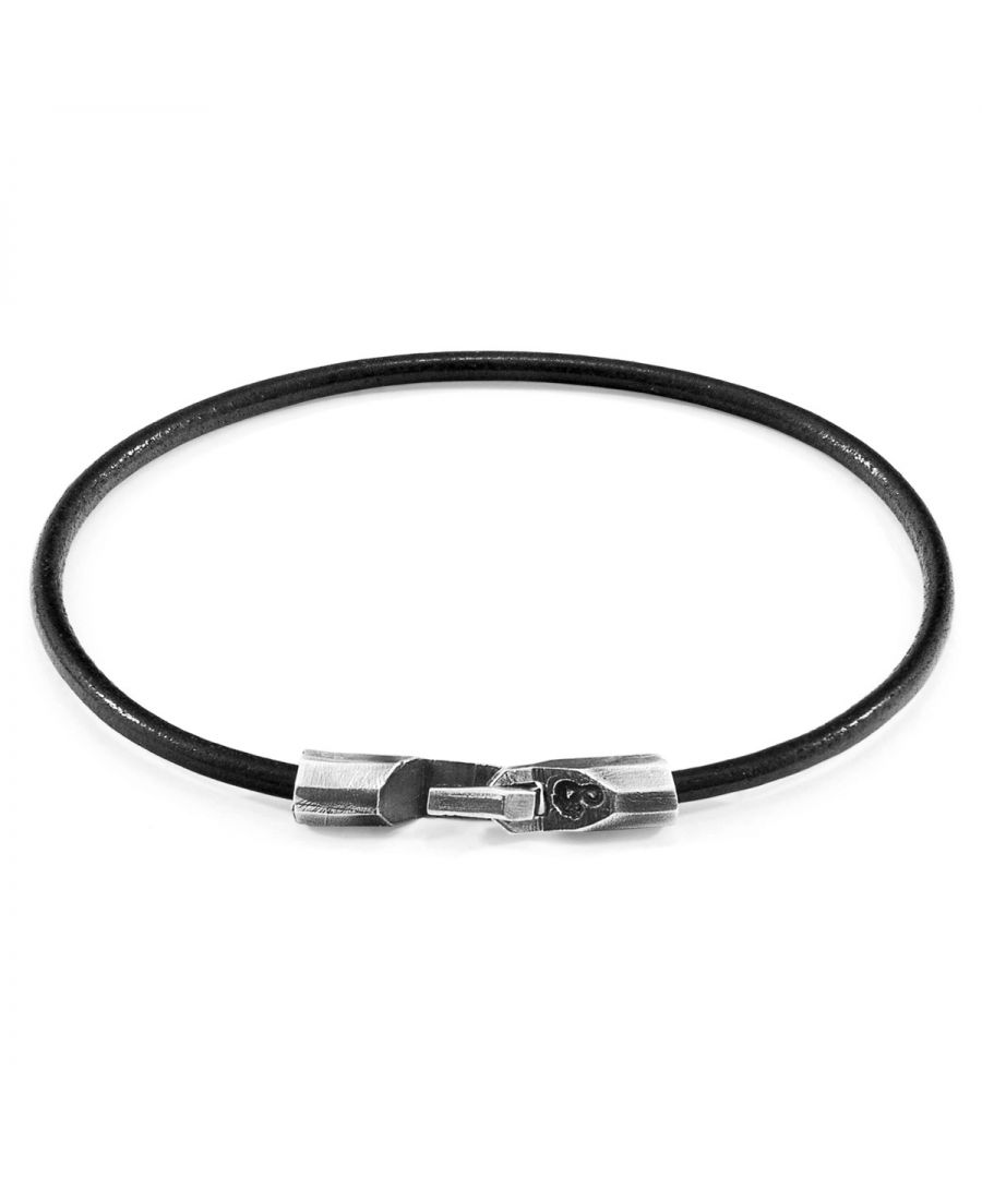 Image for ANCHOR & CREW Raven Black Talbot Silver and Round Leather Bracelet