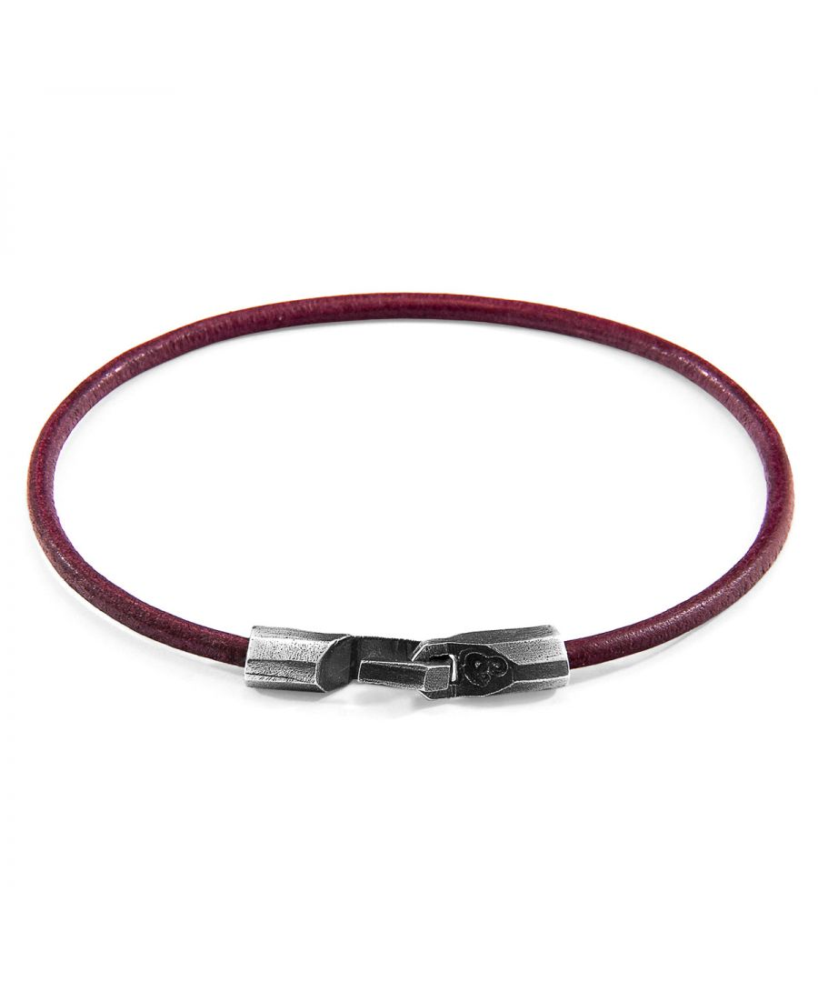 Image for ANCHOR & CREW Bordeaux Red Talbot Silver and Round Leather Bracelet