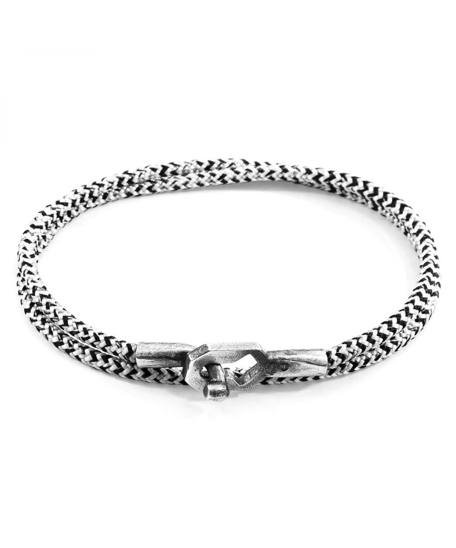 Image for ANCHOR & CREW White Noir Tenby Silver and Rope Bracelet