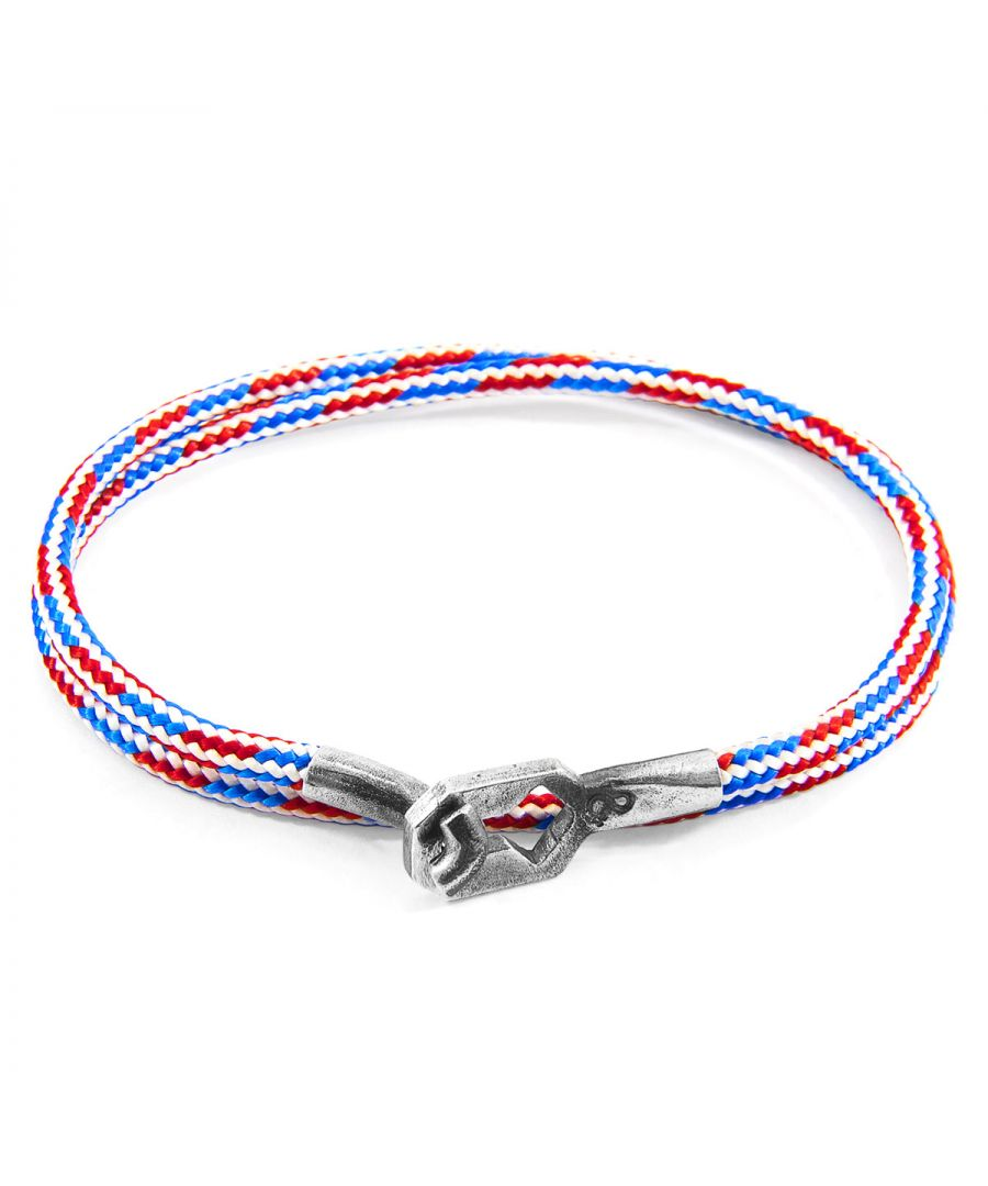 Image for ANCHOR & CREW Project-RWB Red White and Blue Tenby Silver and Rope Bracelet