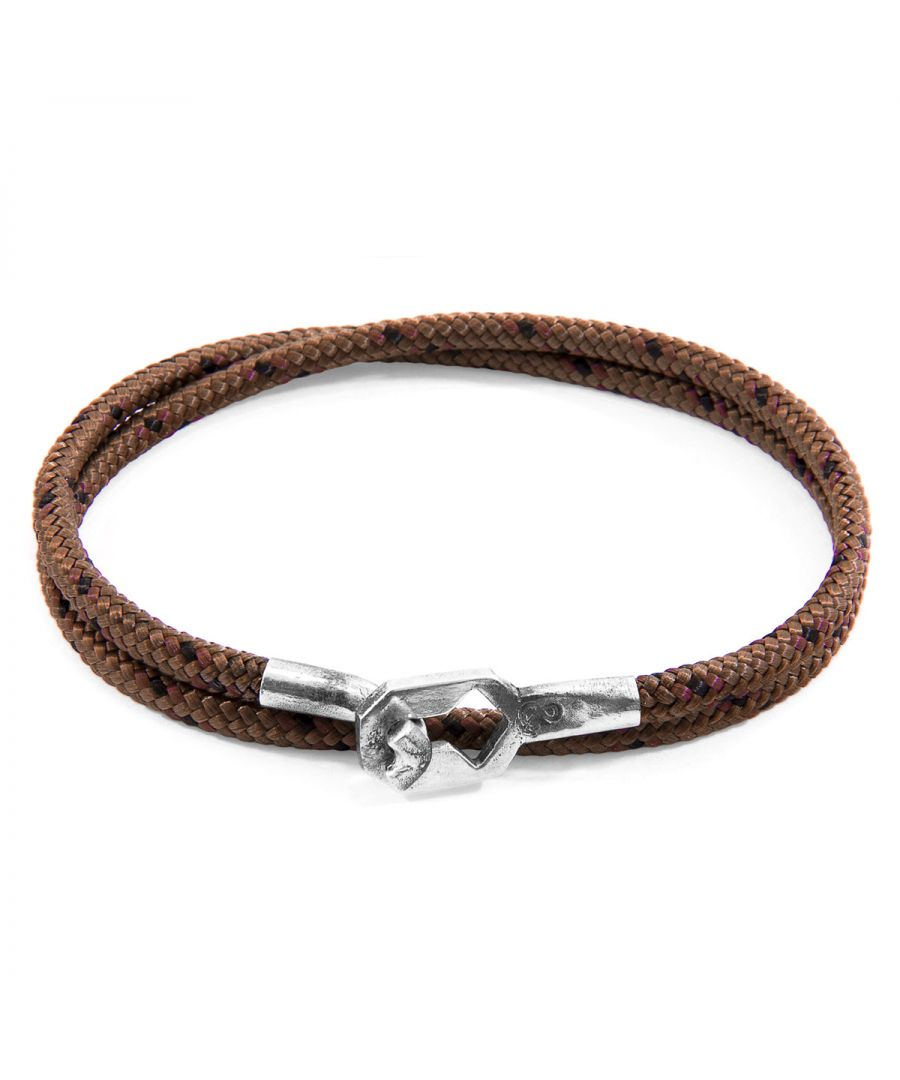Image for ANCHOR & CREW Brown Tenby Silver and Rope Bracelet