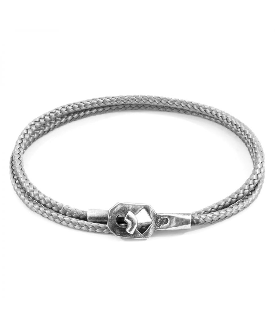 Image for ANCHOR & CREW Classic Grey Tenby Silver and Rope Bracelet