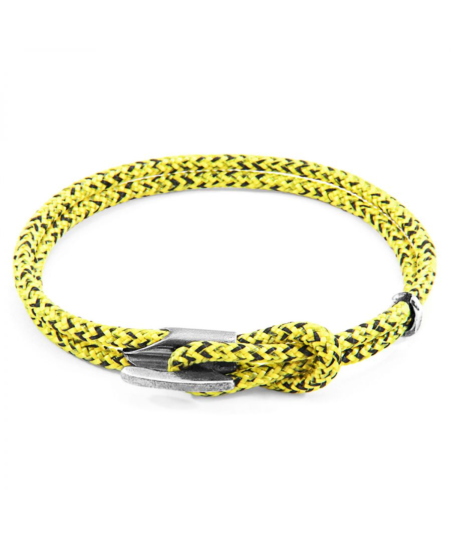 Image for ANCHOR & CREW Yellow Noir Padstow Silver and Rope Bracelet