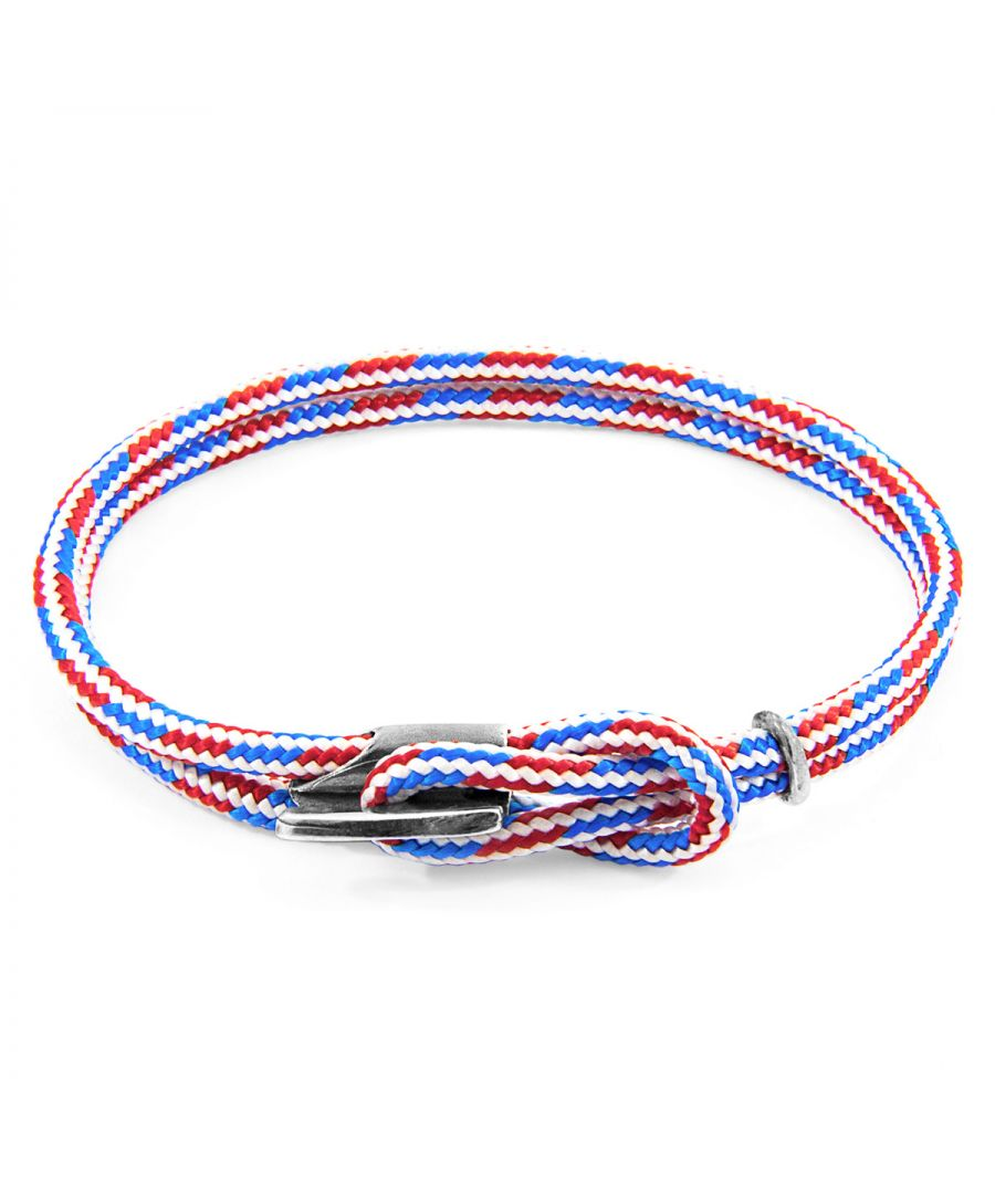 Image for ANCHOR & CREW Project-RWB Red White and Blue Padstow Silver and Rope Bracelet