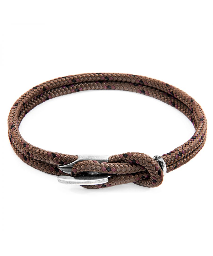 Image for ANCHOR & CREW Brown Padstow Silver and Rope Bracelet