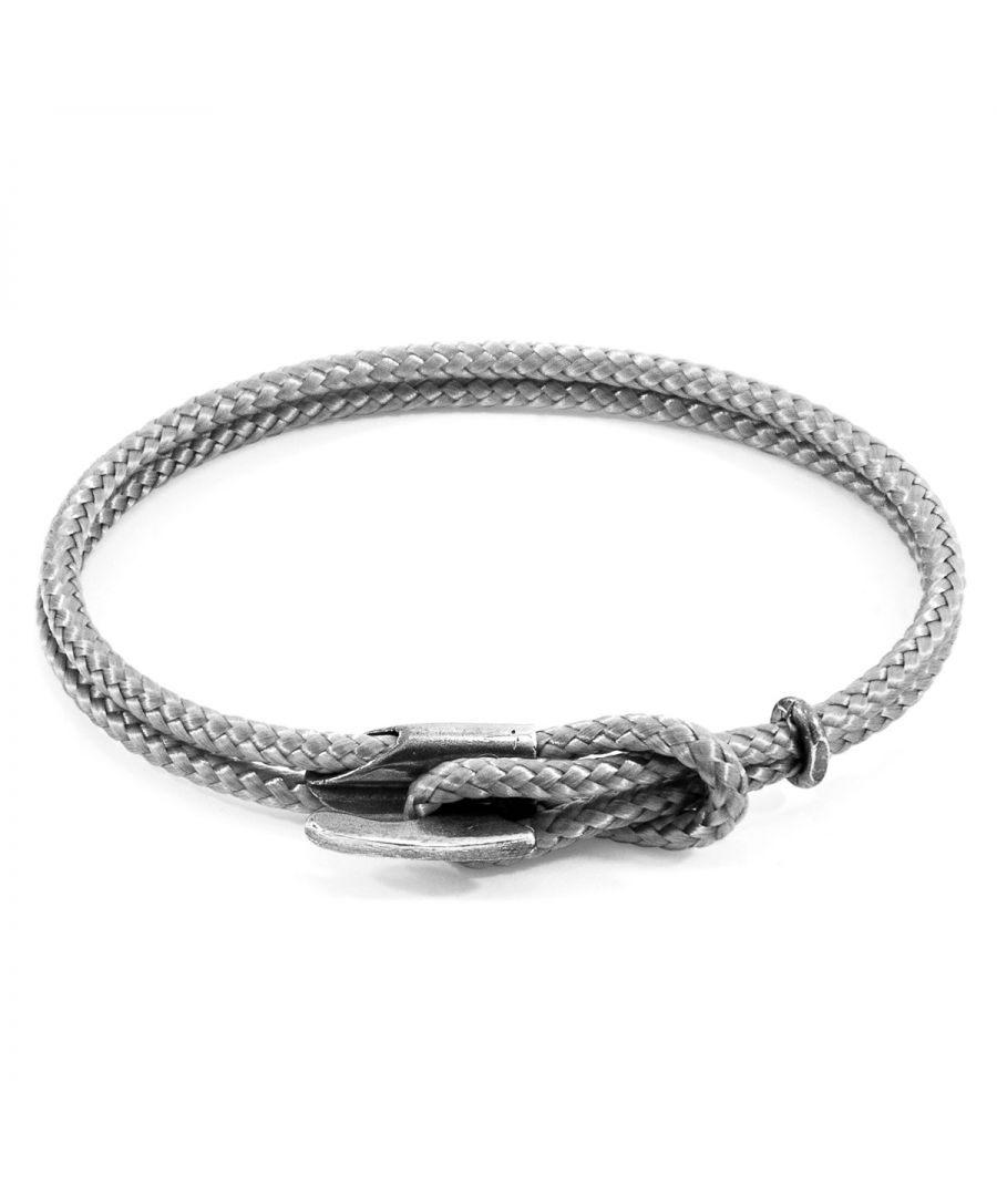Image for ANCHOR & CREW Classic Grey Padstow Silver and Rope Bracelet