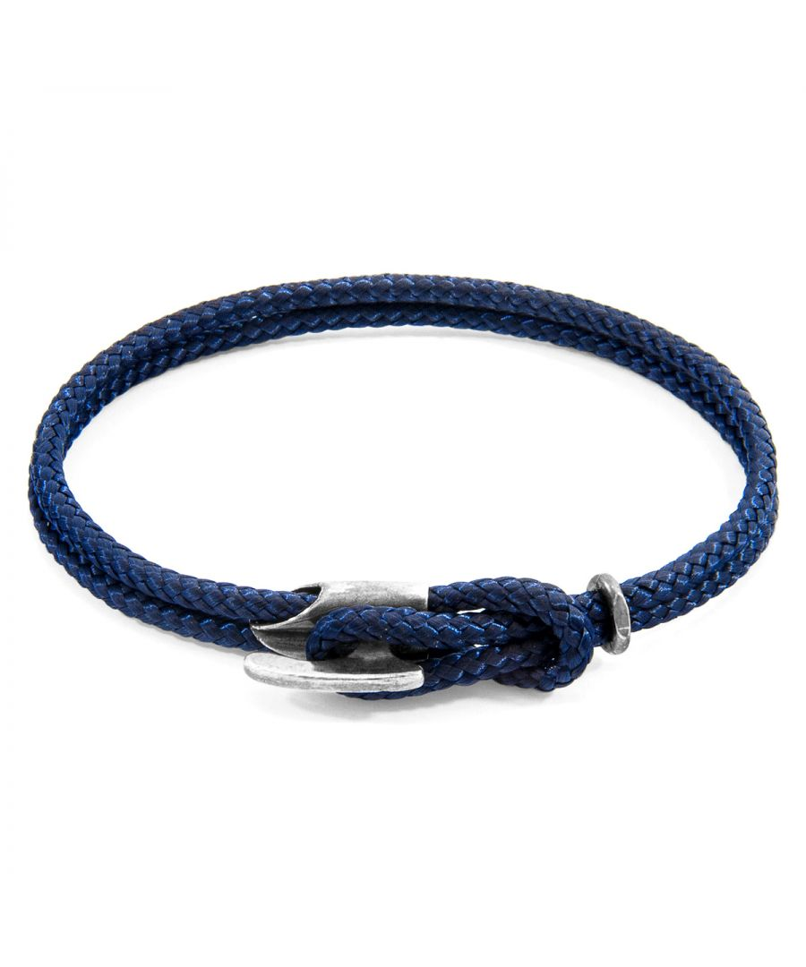 Image for ANCHOR & CREW Navy Blue Padstow Silver and Rope Bracelet