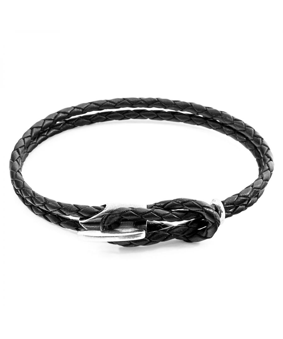 Image for ANCHOR & CREW Coal Black Padstow Silver and Braided Leather Bracelet