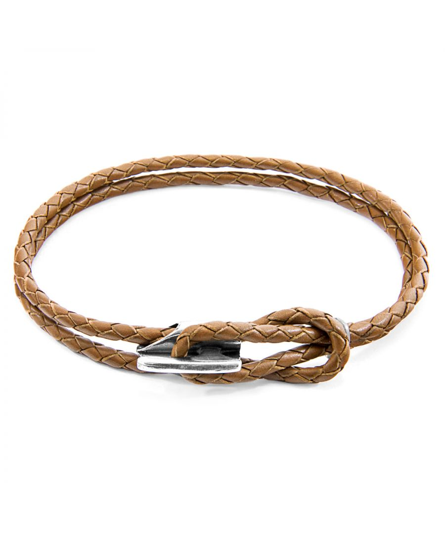 Image for ANCHOR & CREW Light Brown Padstow Silver and Braided Leather Bracelet