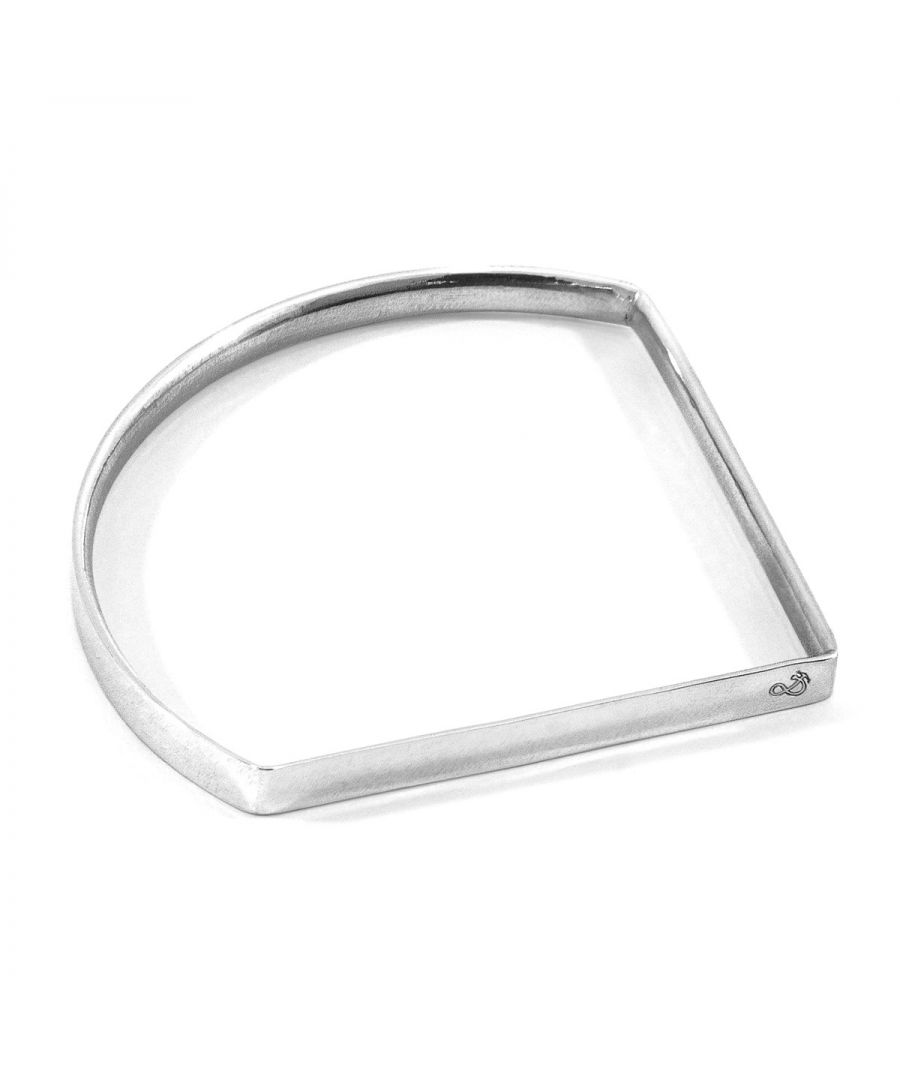 Image for ANCHOR & CREW Holden Quarter Circle Geometric Silver Bangle