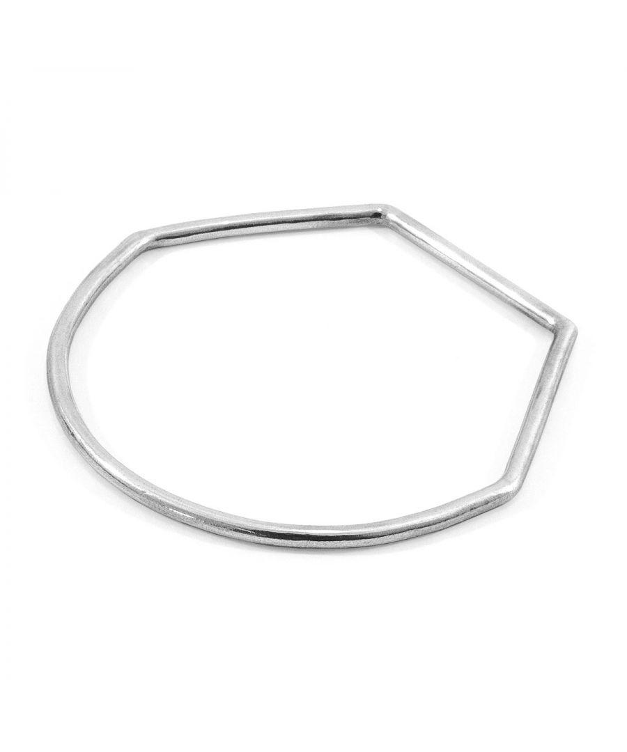 Image for ANCHOR & CREW Rowe Half Circle Geometric Silver Bangle