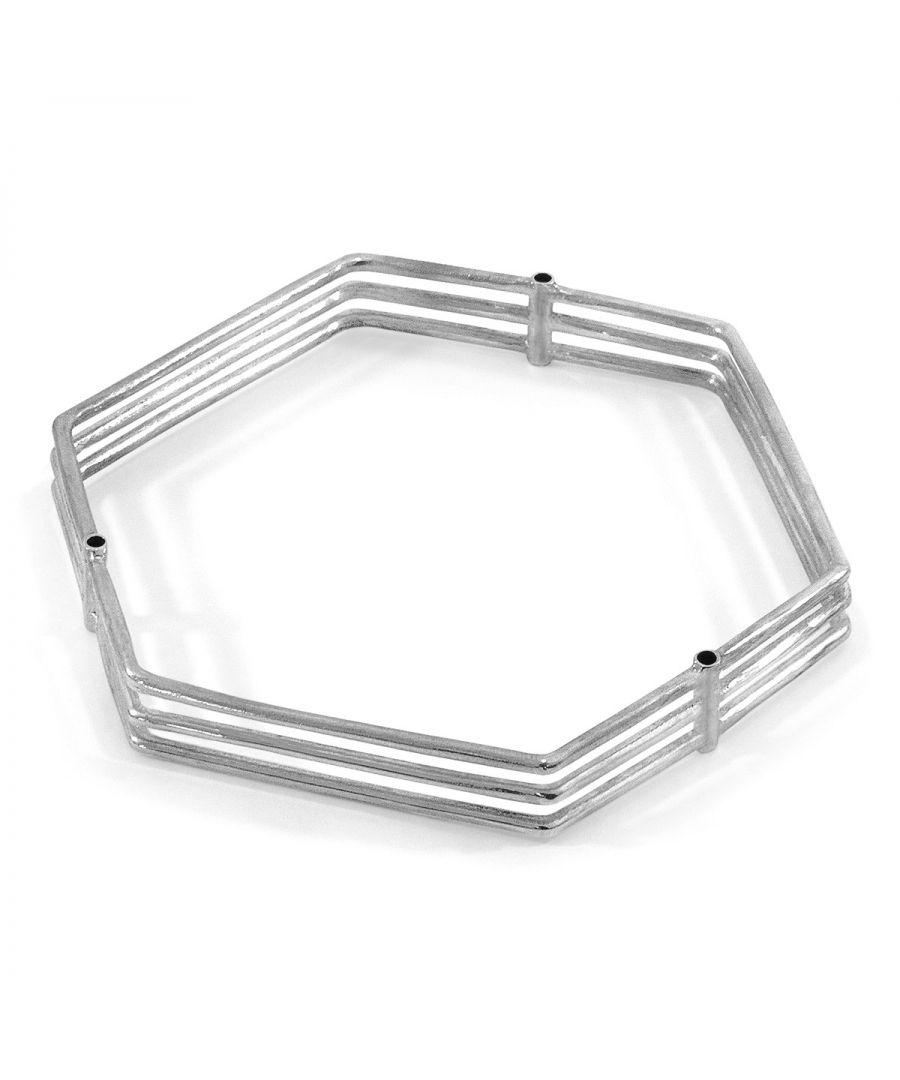 Image for ANCHOR & CREW Walton Tri-Rail Maxi Geometric Silver Bangle