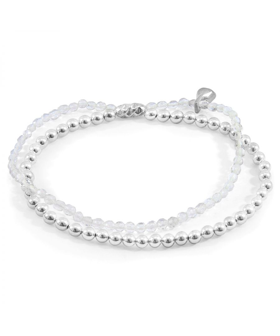 Image for ANCHOR & CREW Clear Rock Crystal Harmony Silver and Stone Bracelet