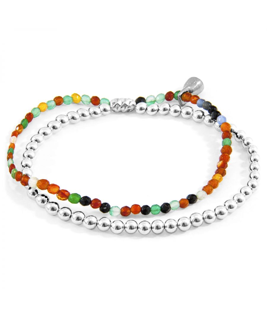Image for ANCHOR & CREW Multicoloured Agate Harmony Silver and Stone Bracelet