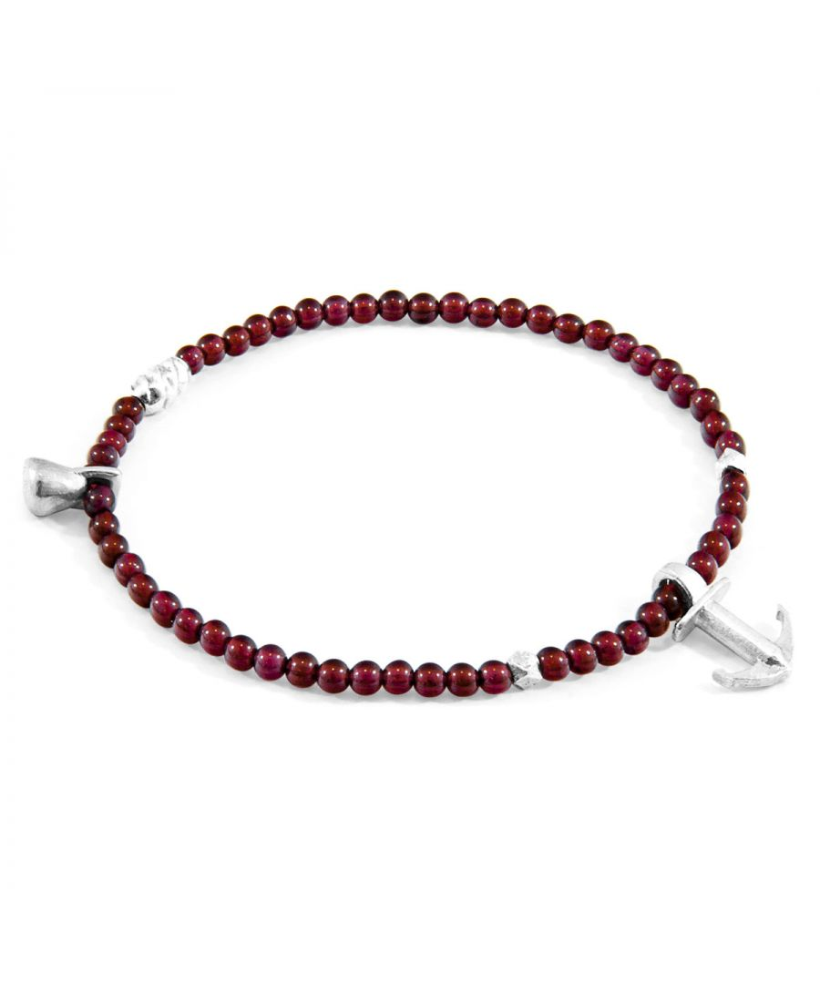 Image for ANCHOR & CREW Red Garnet Tropic Silver and Stone Bracelet