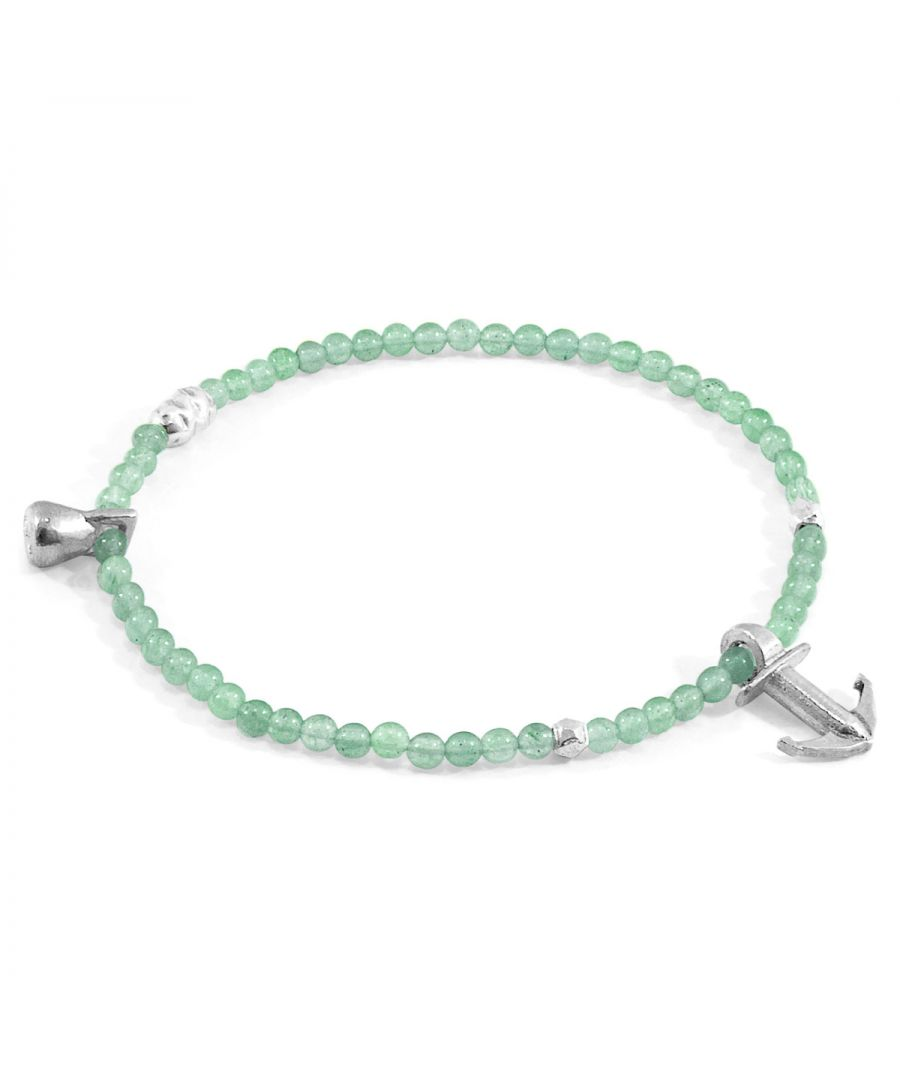 Image for ANCHOR & CREW Green Aventurine Tropic Silver and Stone Bracelet