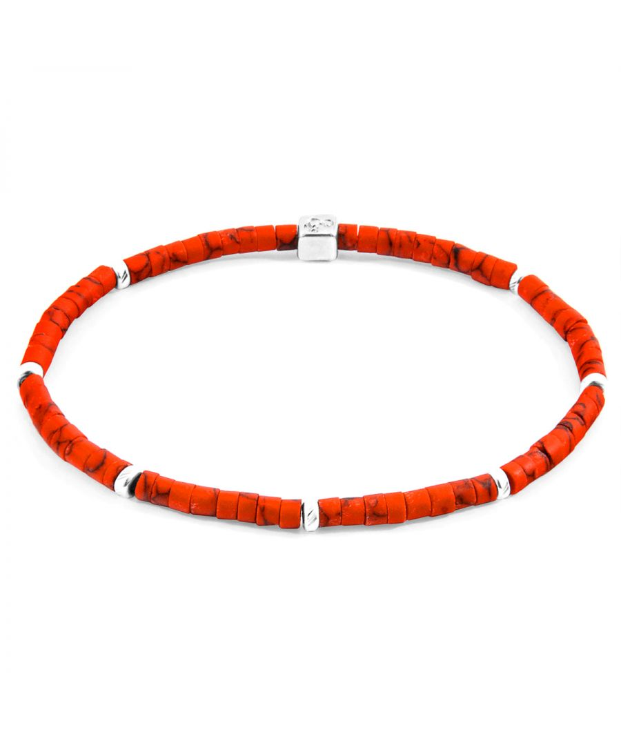 Image for ANCHOR & CREW Red Afghani Tekapo Silver and Stone Bracelet