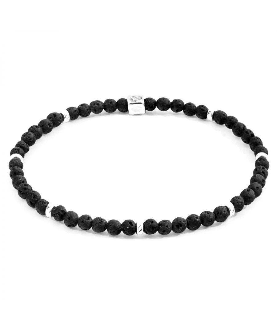Image for ANCHOR & CREW Black Lava Tekapo Silver and Stone Bracelet