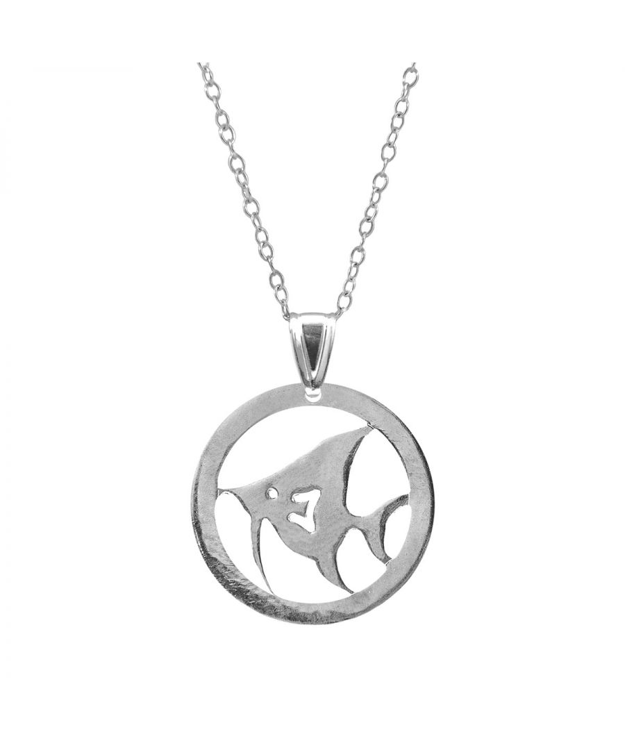 Image for ANCHOR & CREW Angel Fish Disc Paradise Silver Necklace Pendant