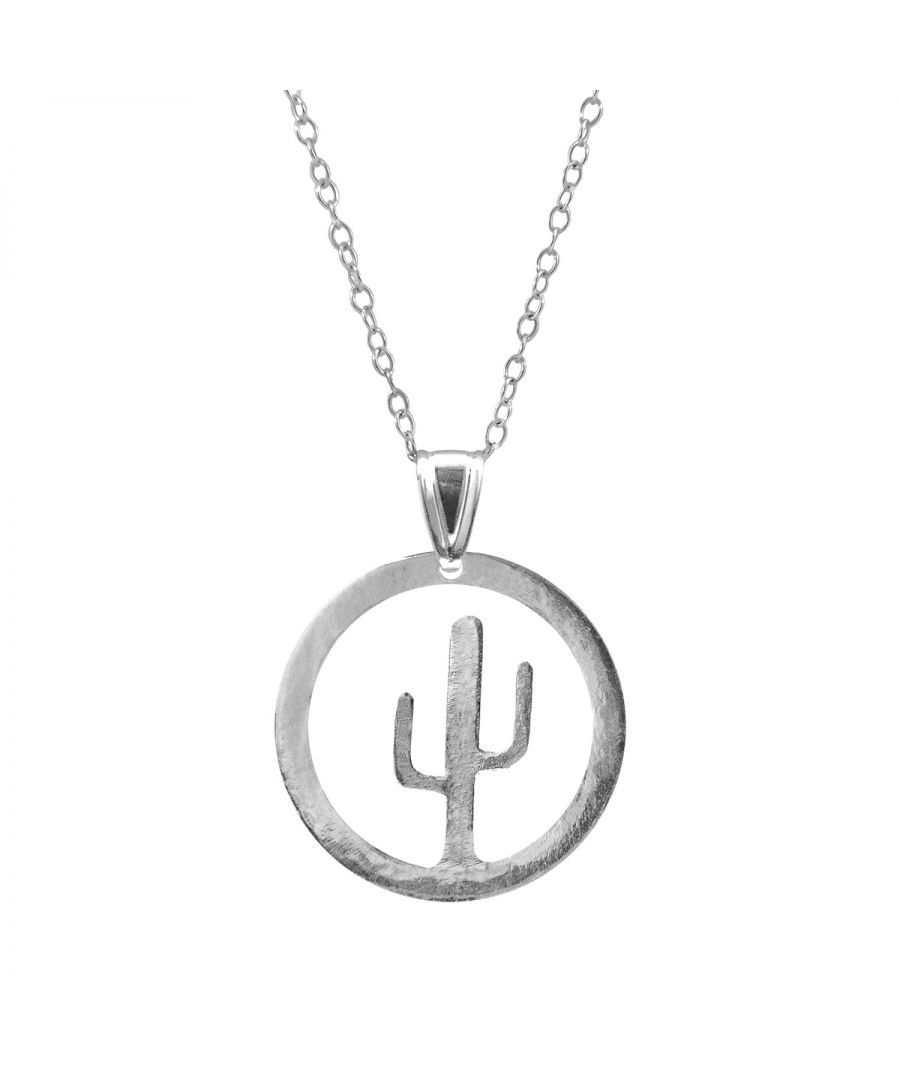 Image for ANCHOR & CREW Cactus Tree Disc Paradise Silver Necklace Pendant