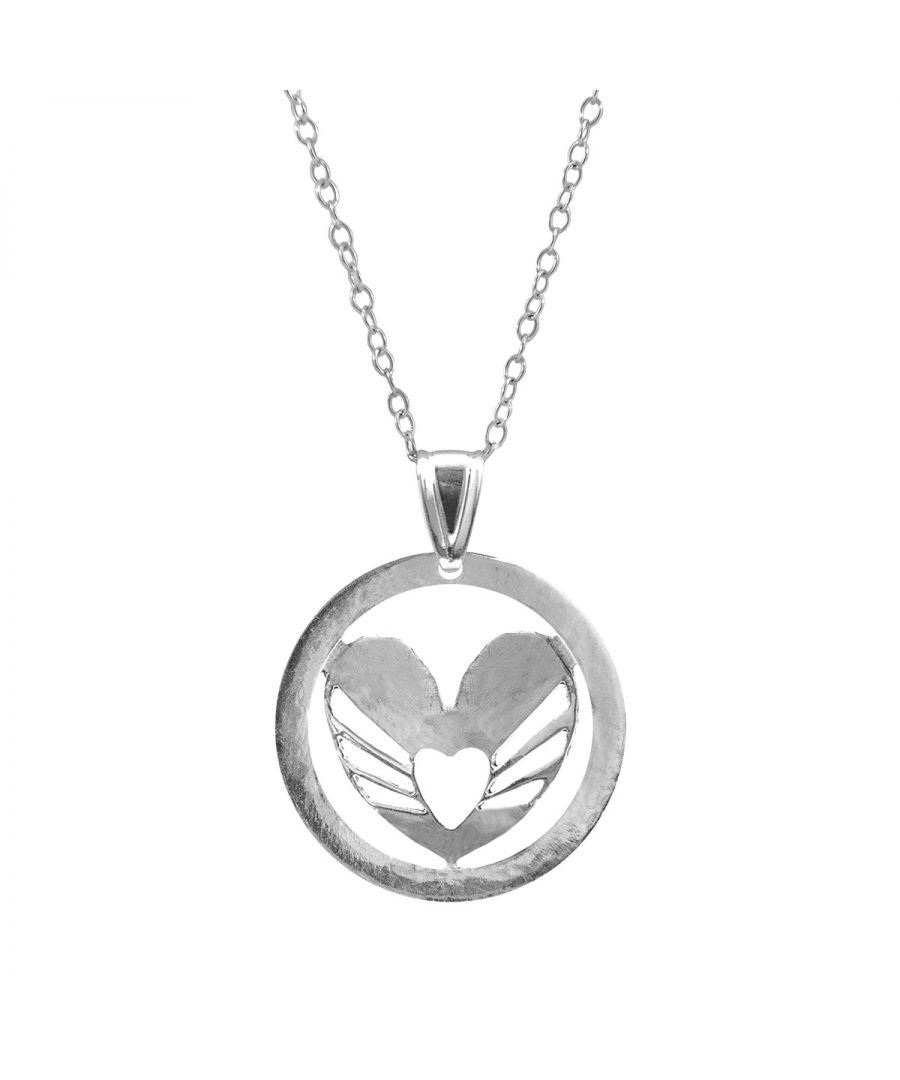 Image for ANCHOR & CREW Decorated Heart Disc Paradise Silver Necklace Pendant