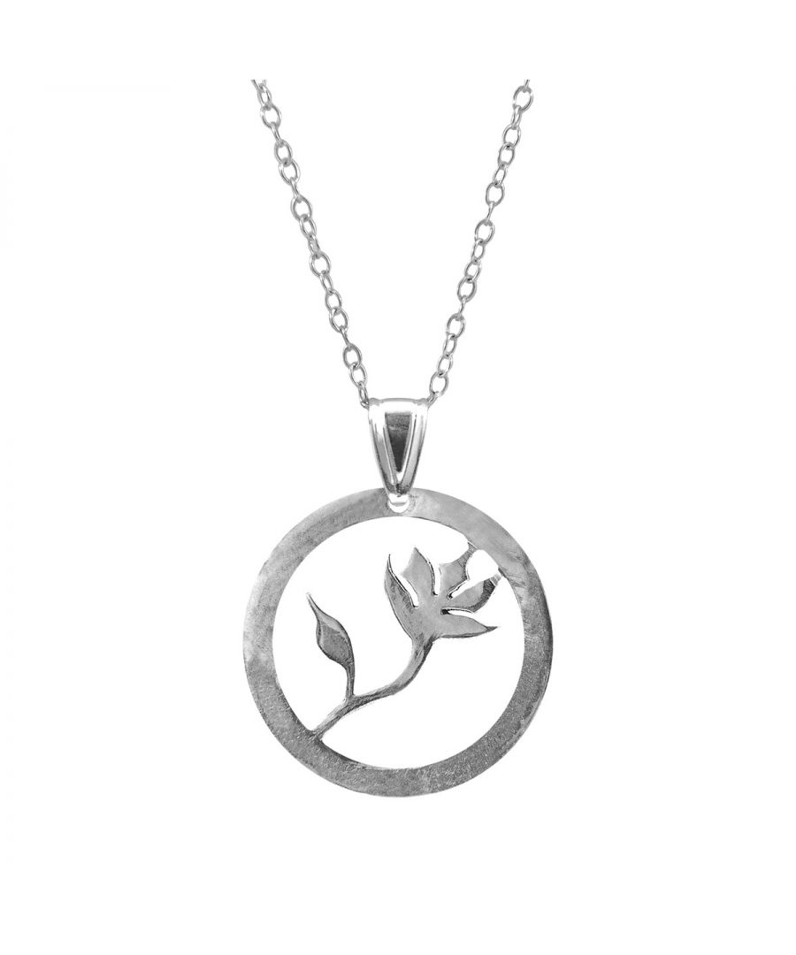 Image for ANCHOR & CREW Exotic Flower Disc Paradise Silver Necklace Pendant