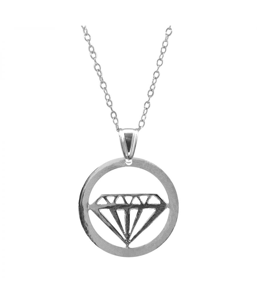 Image for ANCHOR & CREW Faceted Diamond Disc Paradise Silver Necklace Pendant