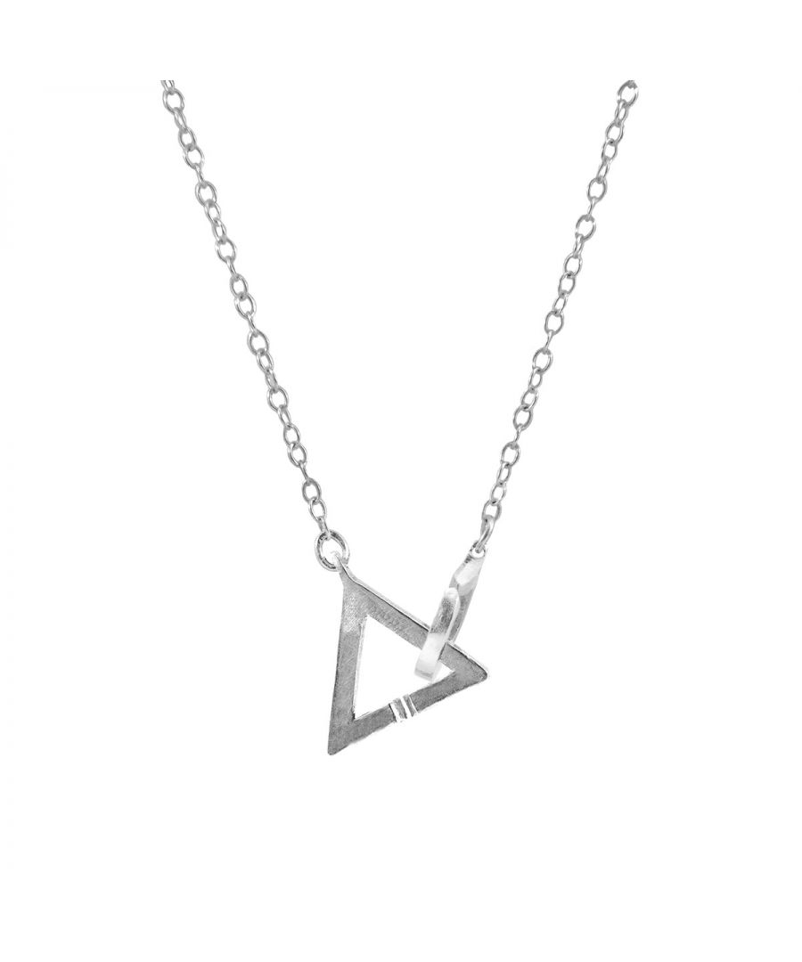 Image for ANCHOR & CREW Geometric Triangle Link Paradise Silver Necklace Pendant