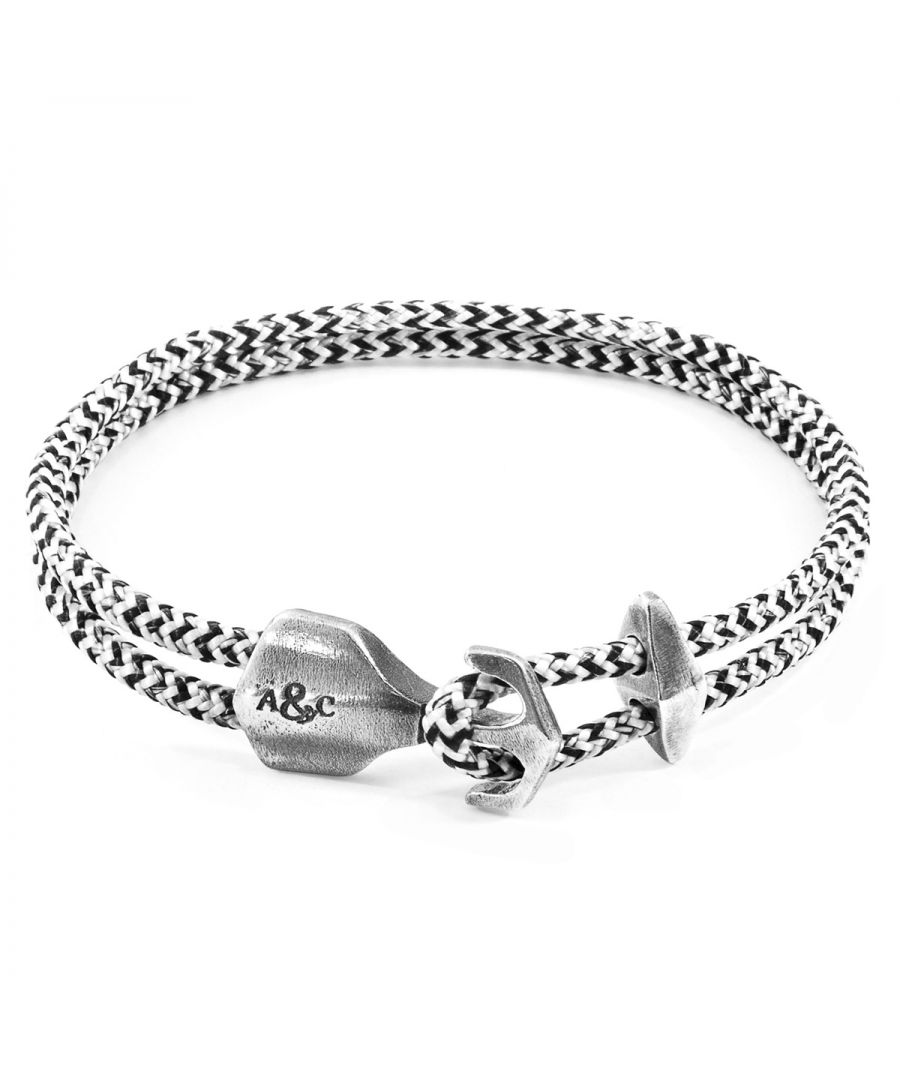 Image for ANCHOR & CREW White Noir Delta Anchor Silver and Rope Bracelet