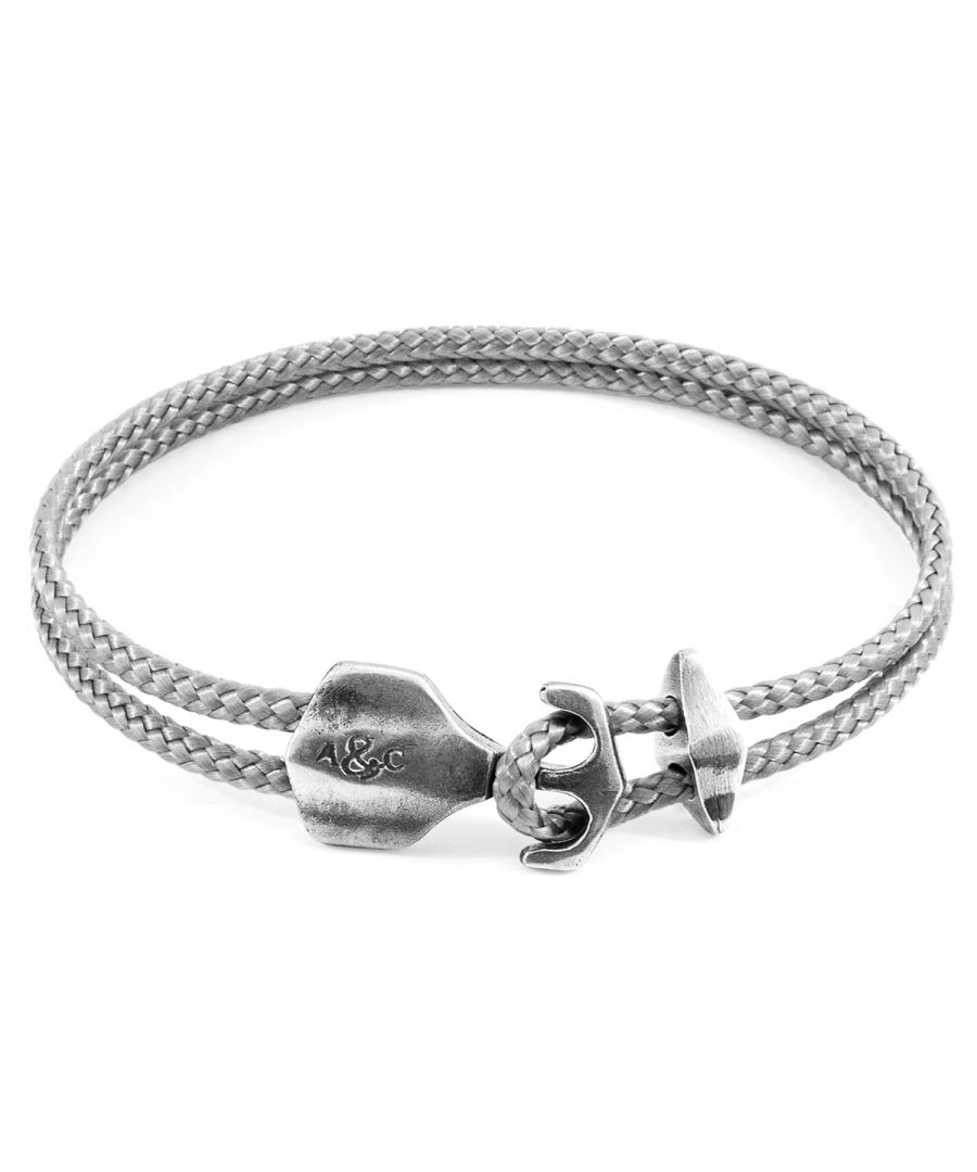 Image for ANCHOR & CREW Classic Grey Delta Anchor Silver and Rope Bracelet