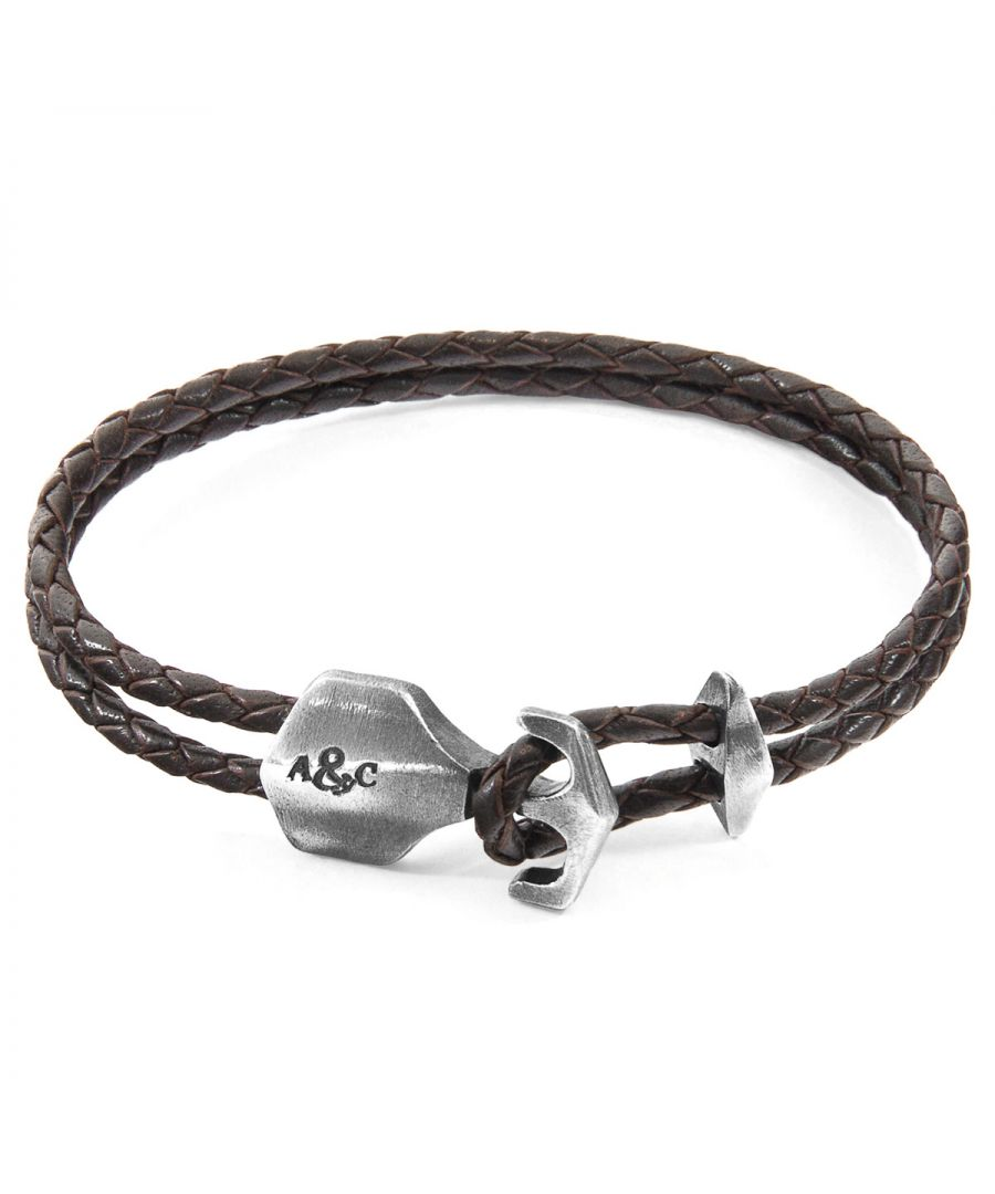 Image for ANCHOR & CREW Dark Brown Delta Anchor Silver and Braided Leather Bracelet