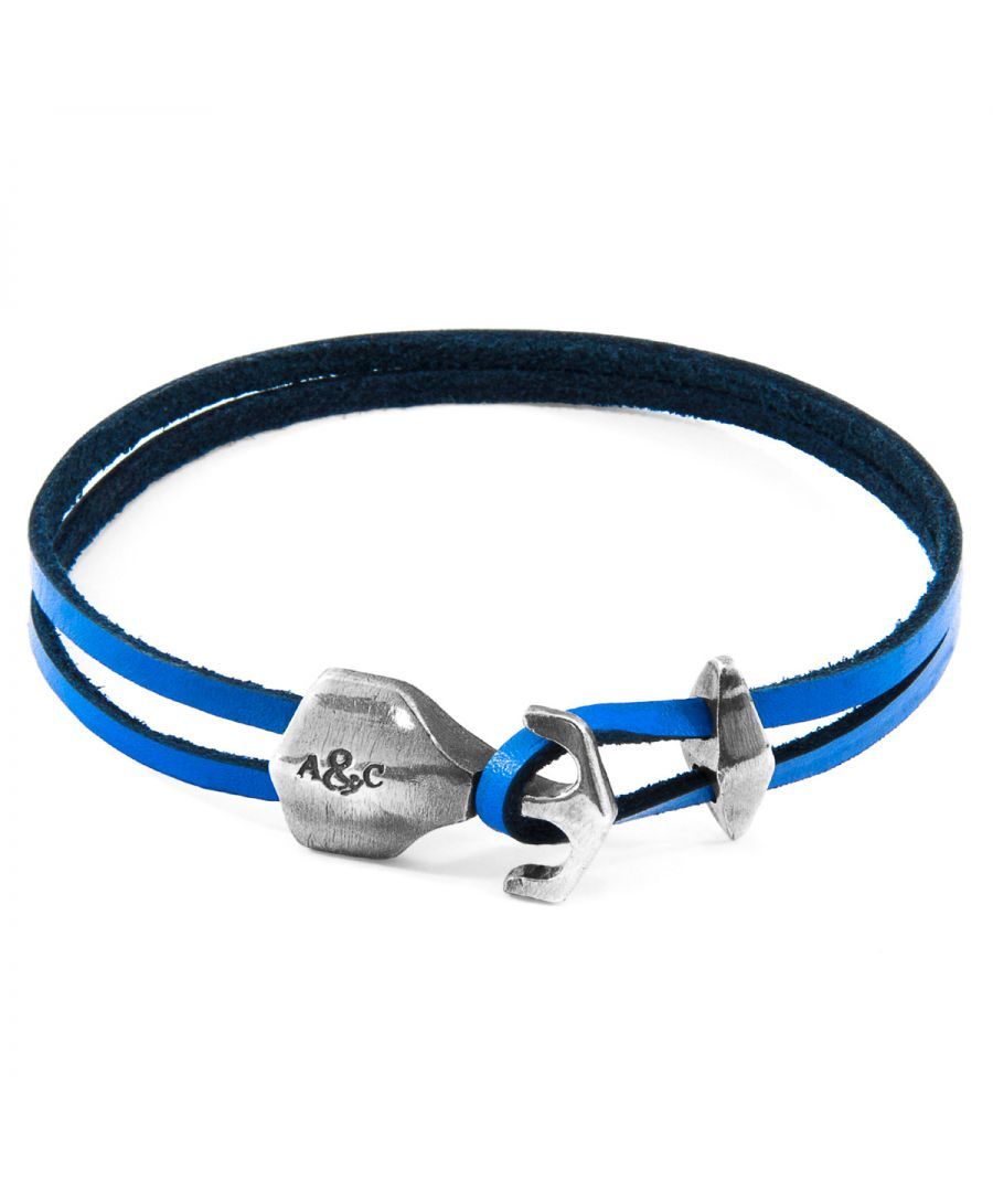 Image for ANCHOR & CREW Royal Blue Delta Anchor Silver and Flat Leather Bracelet