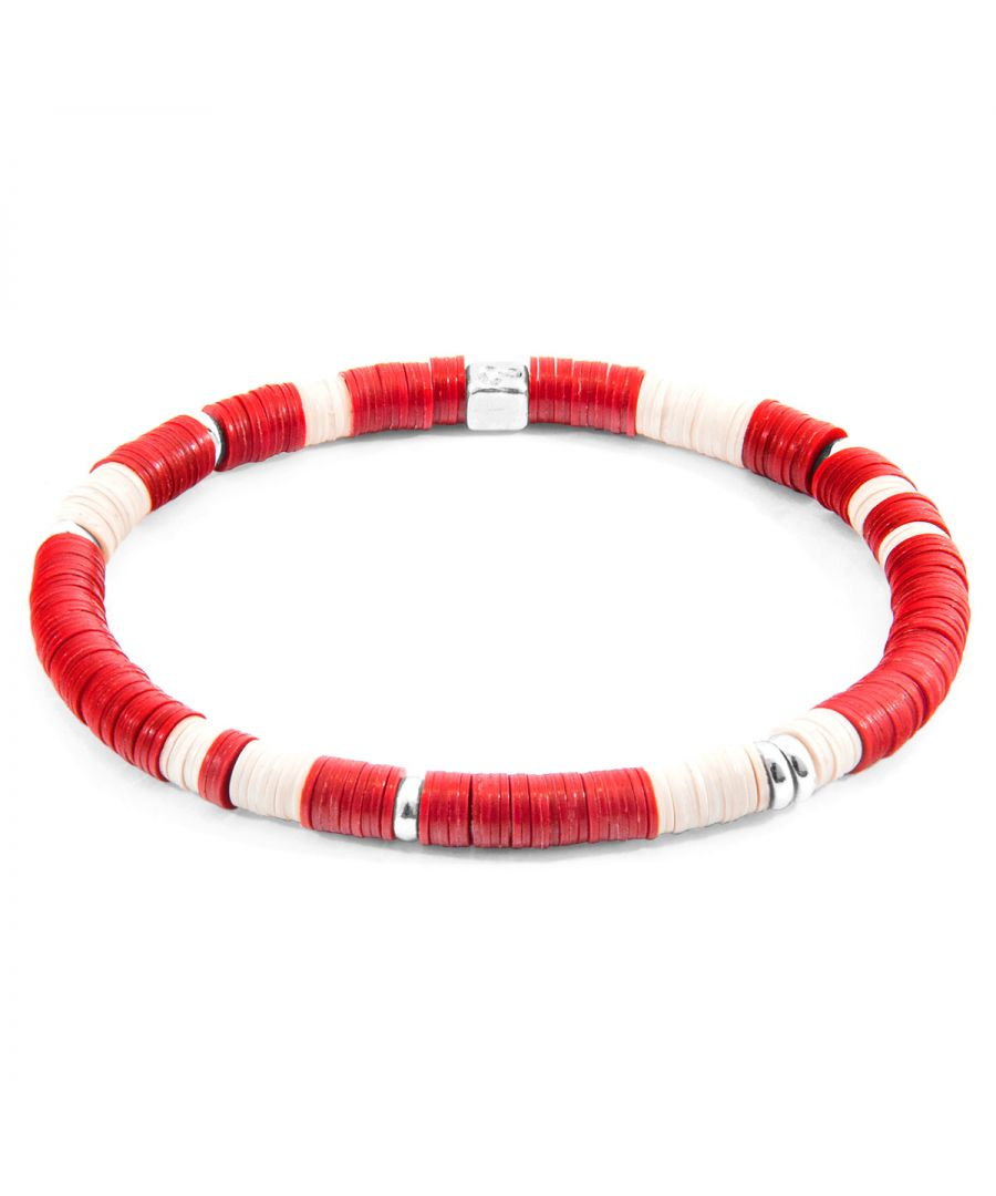 Image for ANCHOR & CREW Red Malawi Silver and Vinyl Disc Bracelet