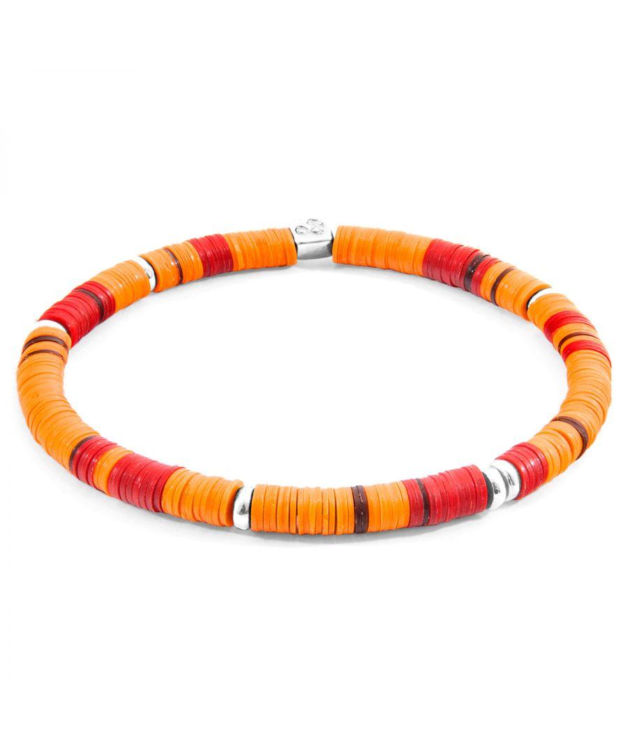 Image for ANCHOR & CREW Orange Malawi Silver and Vinyl Disc Bracelet