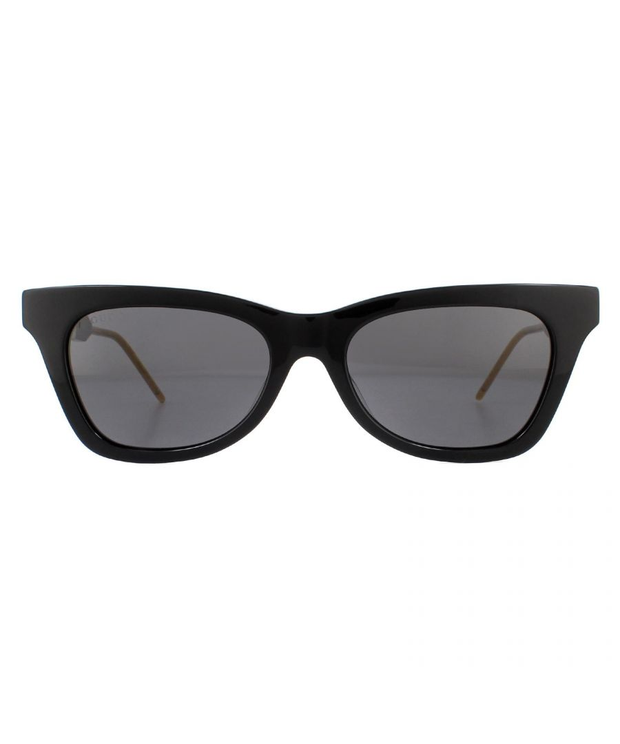 Image for Gucci Sunglasses GG0598S 001 Black and Gold Grey