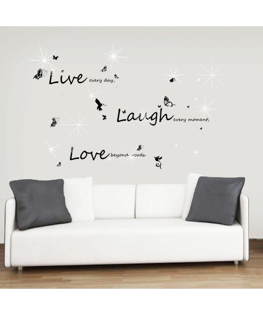 Image for Combo of  Walplus Vivid live laugh love + Swarovski 38pcs Wall Stickers, Kitchen, Bathroom, Living room, Self-adhesive, Decal