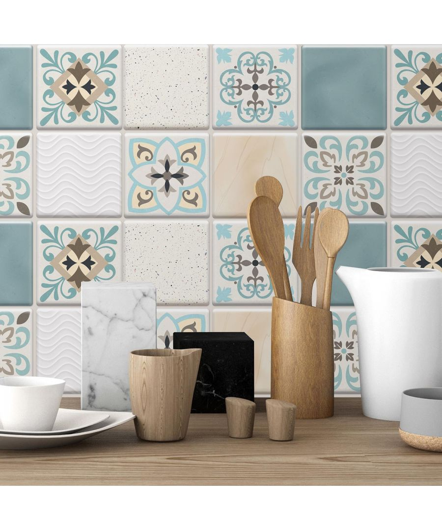 Image for Spanish Retro Mediterranean Crush Glossy 3D Self-adhesive DIY Tile Stickers 15 x 15cm (6in x 6 in) - 16pcs in a pack