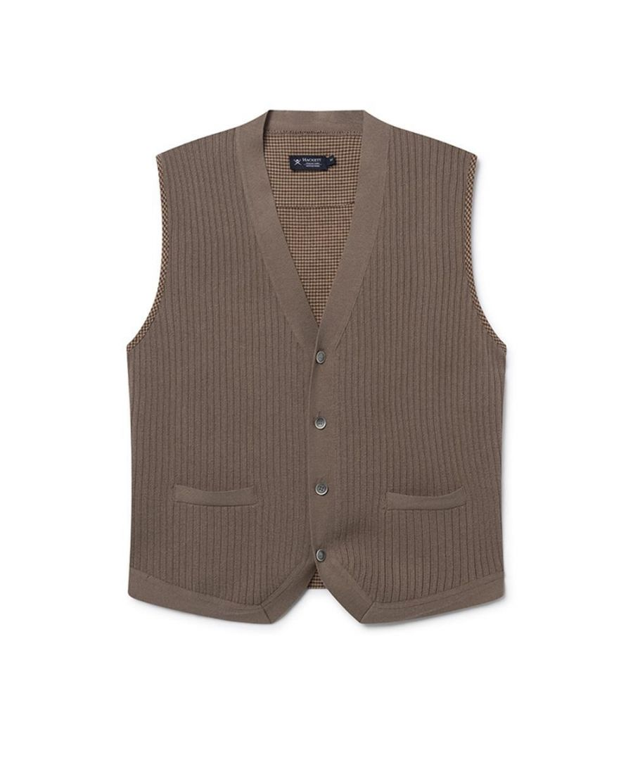 Image for Men's Hackett, Knitted Fabric Gilet in Coffee
