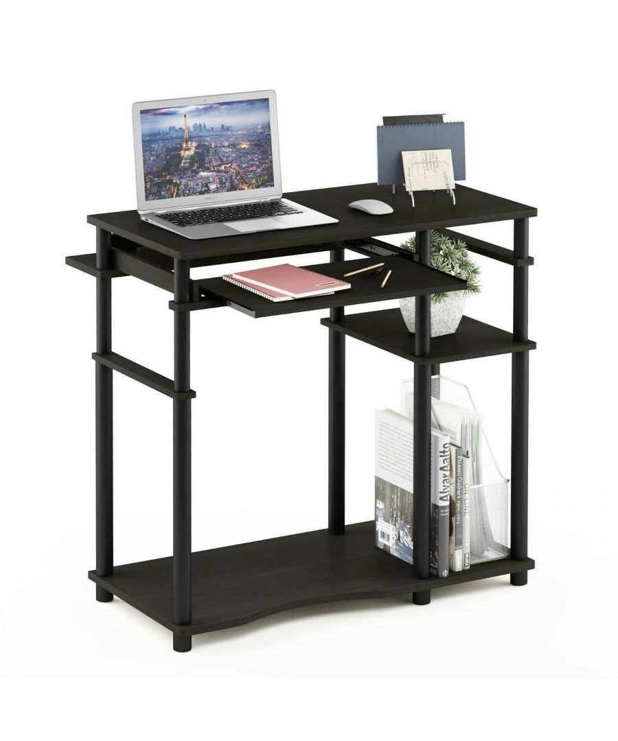 Image for Furinno Abbott Computer Desk with Bookshelf, Espresso/Black
