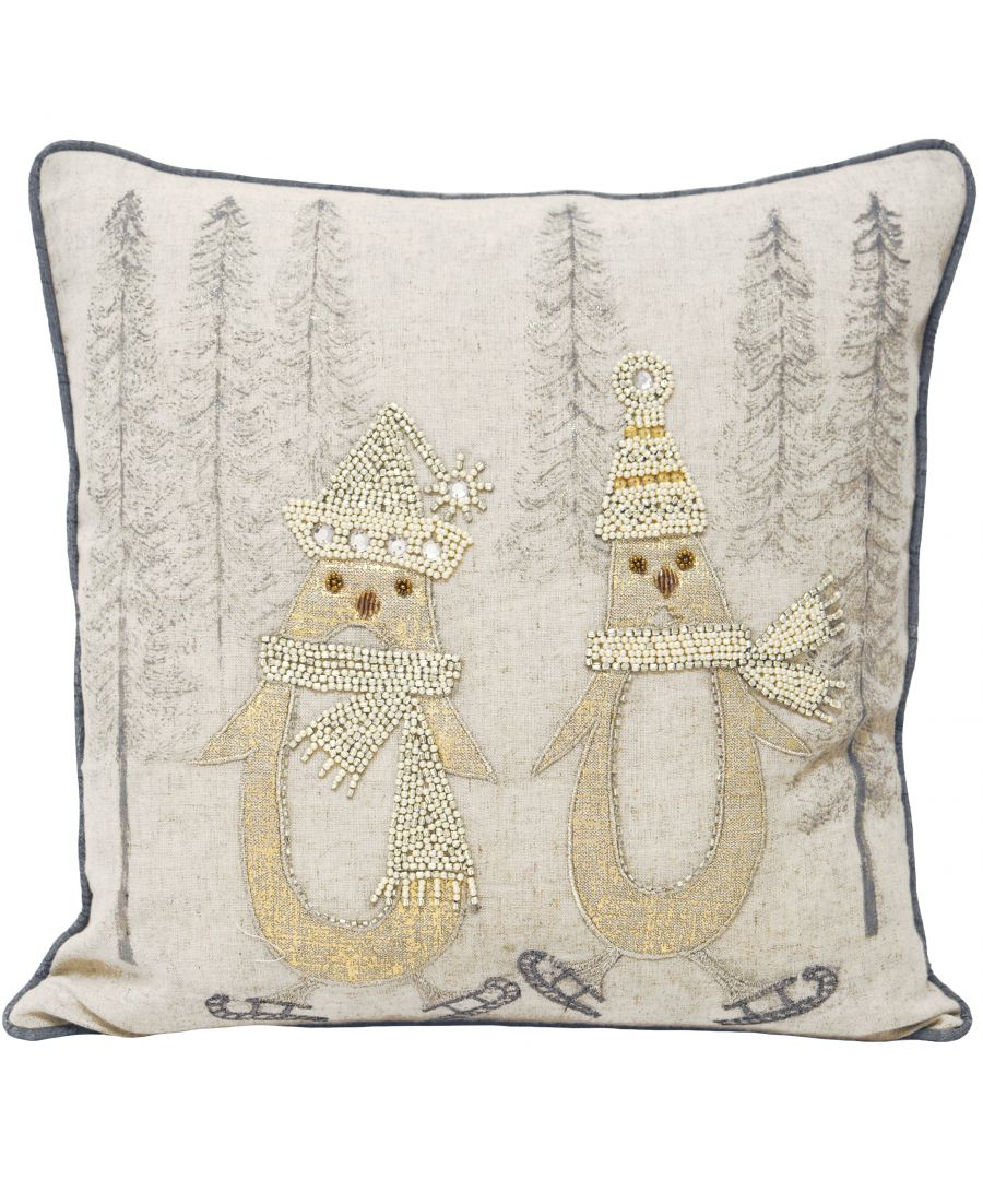 Image for Riva Paoletti Advent Skating Penguins Christmas Polyester Filled Cushion - Cream - Beaded Penguin on Skates Design - 100% Flax Face - 100% Polyester Reverse - 43 x 43cm (17