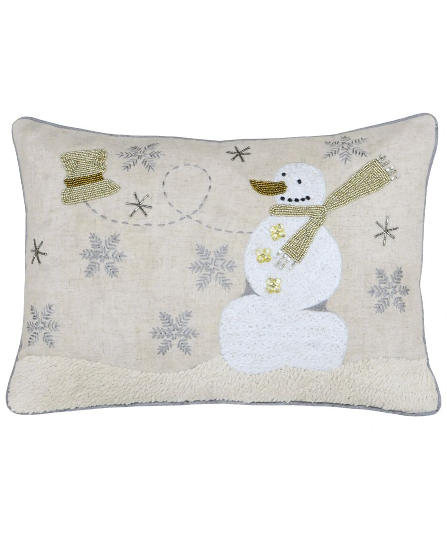 Image for Riva Paoletti Advent Snowman Christmas Polyester Filled Cushion - Cream - Beaded Snowman Design - 100% Flax Face - 100% Polyester Reverse - 35 x 50cm (14